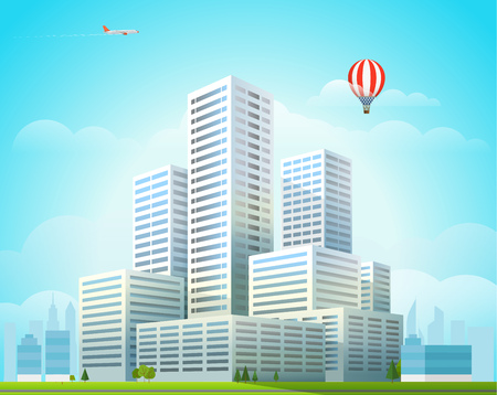 residental: Modern cityscape vector illustration. Office buildings city skyscrapers in the morning