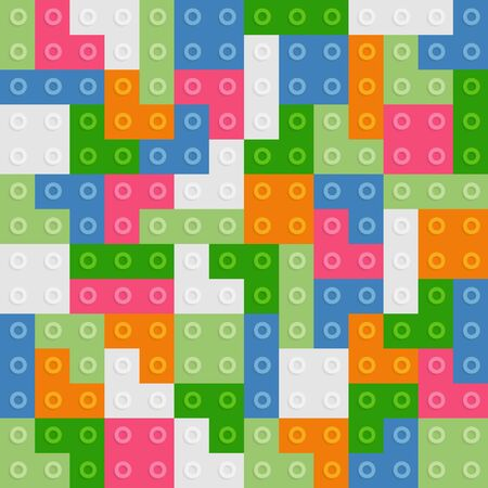 Color constructor blocks seamless pattern Illustration