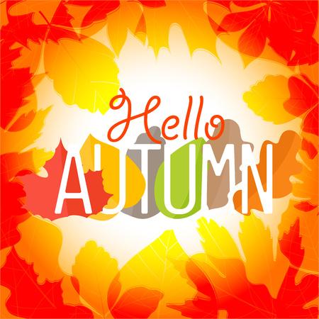 Hello autumn. Color leaves season vector concept