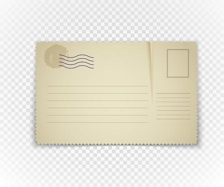 Vintage briefkaart op transparante achtergrond. Sjabloon voor een content