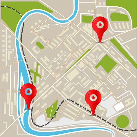 uptown: Abstract city map with red pins. Flat design illustration