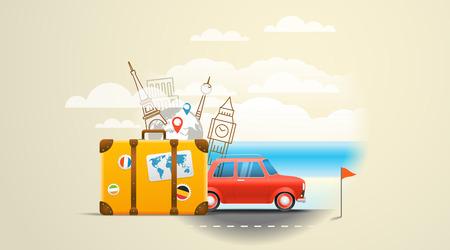 reise retro: Urlaub Reisen Komposition mit roten Retro-Auto. Reisen Urlaub Konzept Illustration