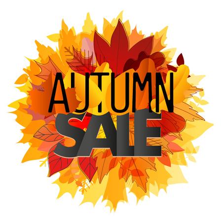 autumn color: Color leaves illustration. Autumn sale  concept Illustration