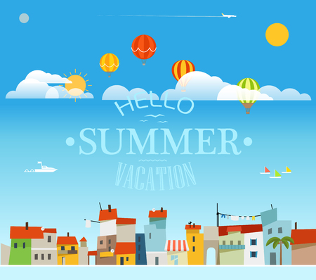 Vacation travelling concept with logo. Hello summer