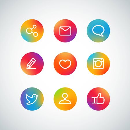 Different web color icons set. Social media pictograms
