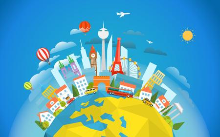 세계의 유명한 signts. 여행 개념 벡터 일러스트 레이 션입니다. 세계 투어 주위