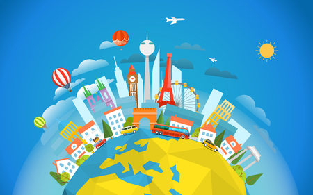 signts famosa in tutto il mondo. concetto di viaggio illustrazione vettoriale. In tutto il giro del mondo