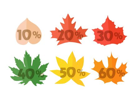 autumn color: Autumn sale elements isolated on white. Color maple leaves vector set Illustration