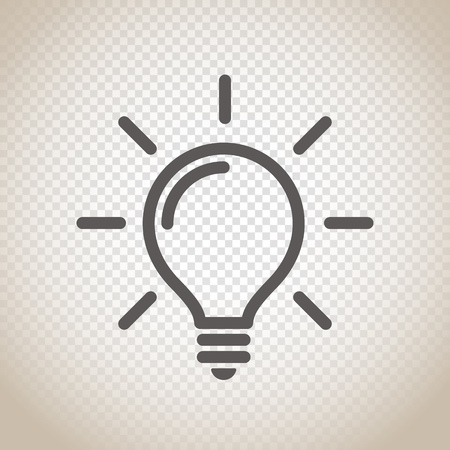 Ikona żarówki światła na przejrzystym tle
