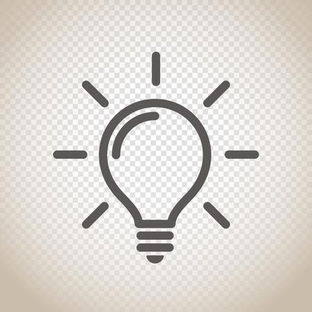 Luce icona della lampadina vettoriale su sfondo trasparente