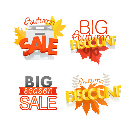 Season sale banners set isolated on white. Different sale banners vector collection Illustration