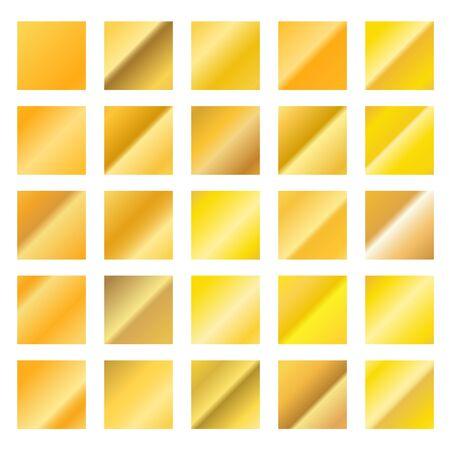 pallette: gradients d'or ensemble différent isolé sur blanc Illustration