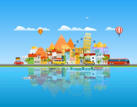 In tutto il mondo il concetto di viaggio. Asia paesaggio urbano illustrazione vettoriale di viaggio