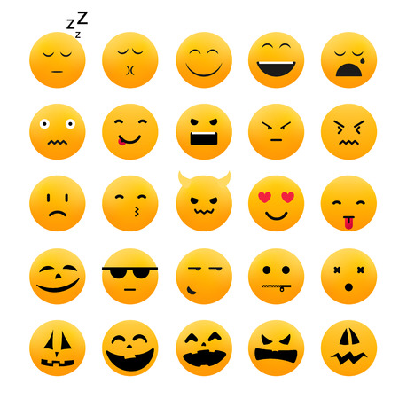 Collection of different emoji icones vector set. Vector characters isolated on white Illustration