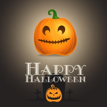 Happy Halloween greeting card. Color pumpkin silhouette