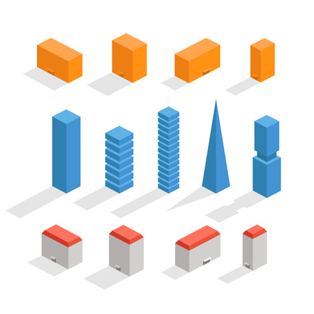 residental: Different city buildings  set. Office buildings Illustration
