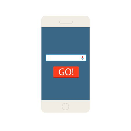 phone button: Modern phone search command line with go button isolated on white