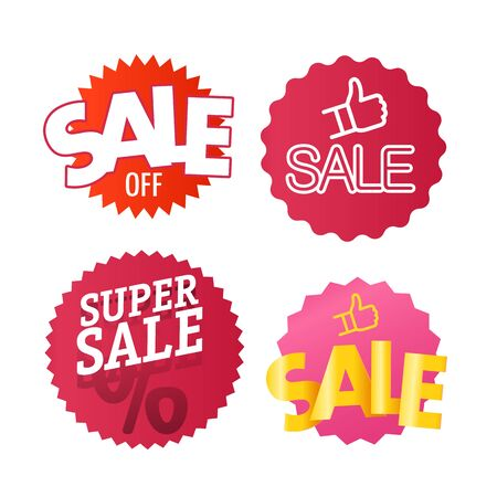 Different color shopping tags  clipart isolated on white. Sale and discount