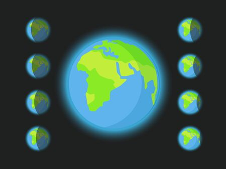 Different silhouettes of the Earth.  clip-art