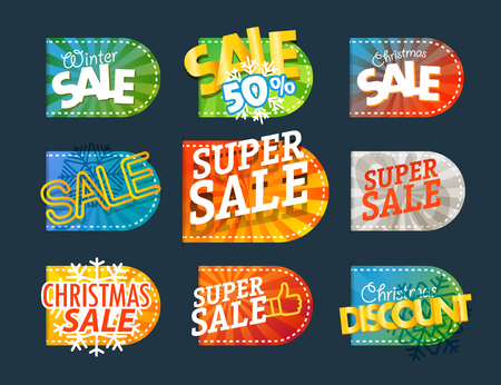 wobbler: Different color season shopping tags vector clipart. Christmas sale and discount