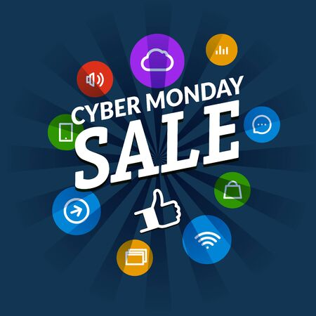 advertising wobbler: Cyber monday sale shopping tag vector illustration