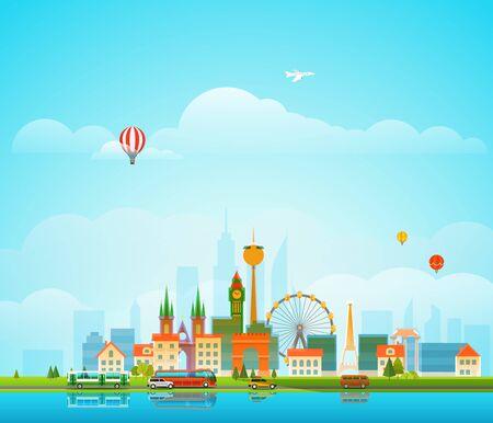 residental: Modern cityscape vector illustration. Office buildings and different transport Illustration