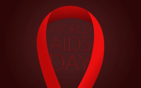 Red ribbon on dark background. World AIDS Day symbol