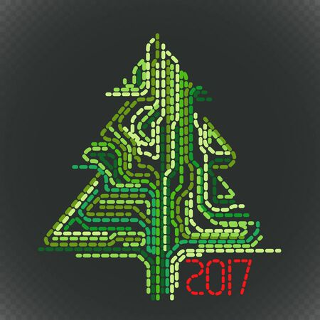 happy new years: Abstract christmas tree on dark. Greeting card