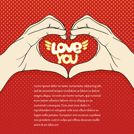 heart sign: Human hands with heart sign. Love concept Illustration