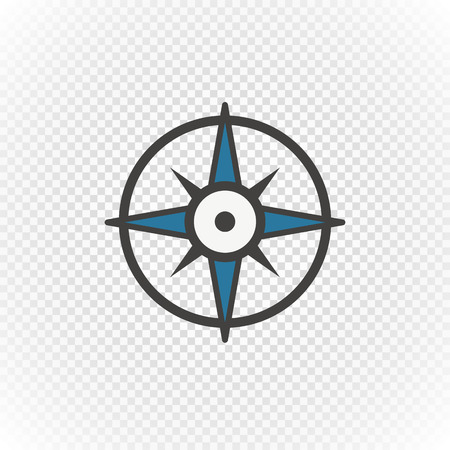 Compass retro design vector icon isolated on transparent Vectores