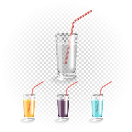 cold drinks: Different drinks on transparent glass set