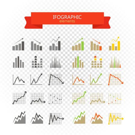 グラフィック事業の評価とグラフのコレクションです。上のインフォ グラフィックの要素  イラスト・ベクター素材