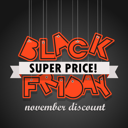 Black Friday sale logo design template. Black Friday super price. November discount Illustration