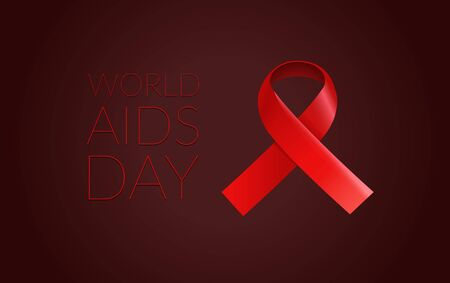 Red ribbon on dark background. Aids Awareness day Illustration