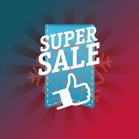 advertising wobbler: Super sale shopping tag vector illustration Illustration
