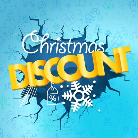 Winter season discount banner. Christmas discount concept with doodles on blue background