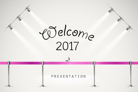 frontier: Photorealistic bright stage with projectors and ribbon. Presentation vector  template. Vector stage