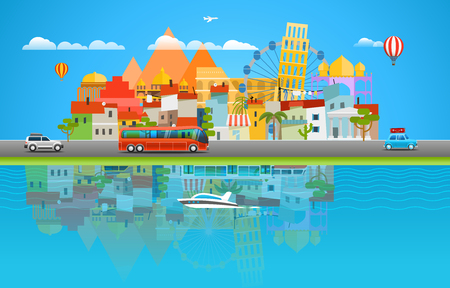 water bus: Summer travelling concept. Asia cityscape Vector travel illustration