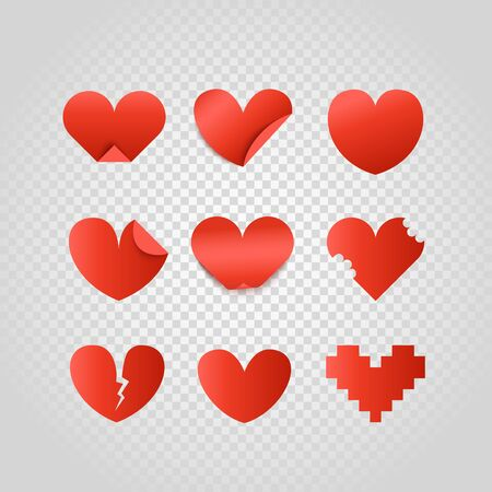 Group of red paper hearts. Happy Valentines Day. Different hearts isolated on  yransparent