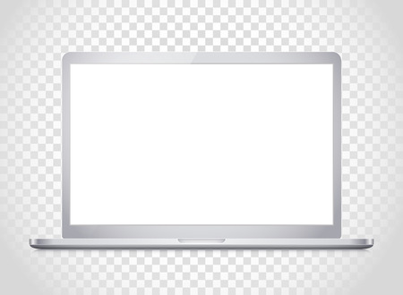 photoreal: Modern laptop computer vector mockup. Vector notebook photoreal illustration. Template for a content