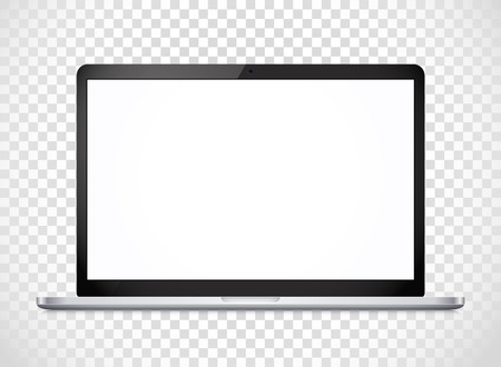 photoreal: Modern laptop computer vector mockup isolated on transparent. Vector notebook photoreal illustration. Template for a content