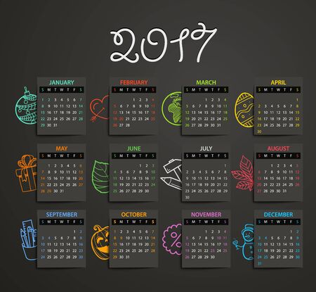 2017 Year Vector Calendar Template With Different Doodles Flat