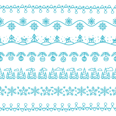 devider: Different doodle christmas vector decor. Vector seamless christmas pattern. Xmas celebration elements collection for design