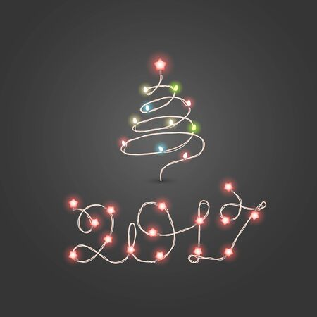 photoreal: Christmas color garland lettering. Happy new 2017. Vector new year greeting card.  Abstract christmas tree with lightbulbs Illustration