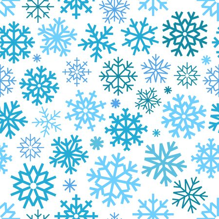 patter: Different vector snowflakes seamless patter. Vector ice crystal ornament