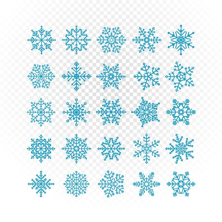 Different vector snowflakes collection isolated on transparent. Vector ice crystal set isolated on white Illustration