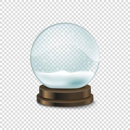 photoreal: Transparent crystal ball with snow vector illustration. Christmas snow ball illustration