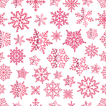 Different pink vector snowflakes seamless patter. Vector ice crystal ornament Illustration