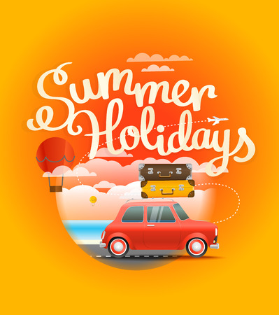 Vacation travelling composition. Summer holidays concept
