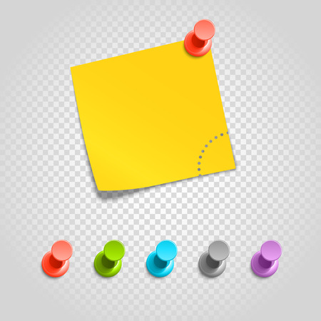 Color pins and paperclip isolated on transparent. Different pins vector set Çizim